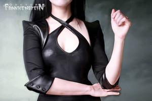 Black with Vinyl sleeves Spikey Bolero Jacket
