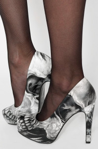 Iron Fist - Dead on Platform Heels with  Skull Print