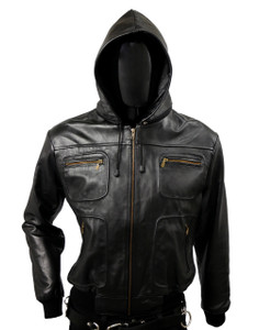 Black Biker Leather Jacket Belgica with  Removable Hood