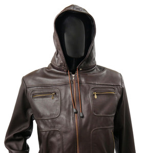 Brown Biker Leather Jacket Belgica with  Removable Hood