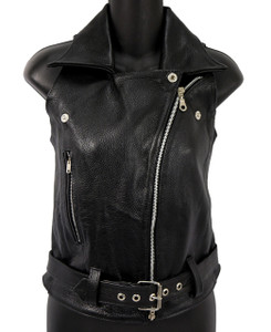 Women's Black Biker Leather Vest