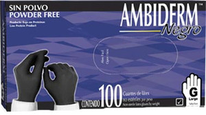 Ambiderm - Black Latex Gloves Box with  100 pieces