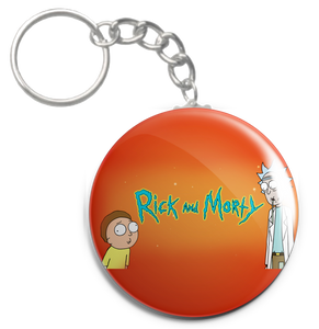 "Rick and Morty Orange Background 1.5"" Keychain"