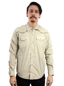 Khaki Long Sleeve Button-Up Shirt
