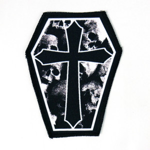 "Skulls and Gothic Cross 6.75x3.5"" Coffin Patch"