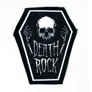 "Go Rocker - Death Rock Skull 6.75x3.5"" Coffin Patch"
