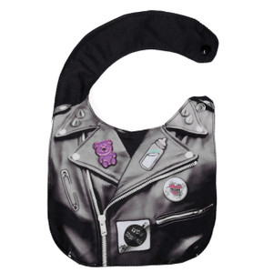 Leather Jacket with  Pins Baby Bib