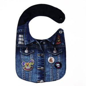 Denim Jacket with  Pins Baby Bib