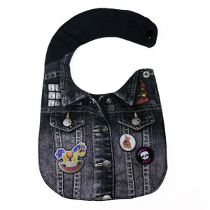 Black Denim Jacket with  Pins Baby Bib
