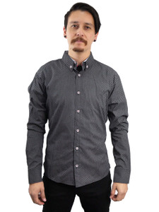 Fango Clothing - Grey Long Sleeve Button Shirt  with Squared Pattern