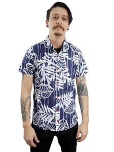 Fango Clothing - Blue Short Sleeve Button Shirt hawaiian style