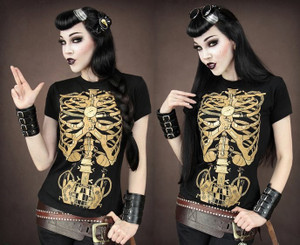 Restyle Clothing - Steampunk Skeleton Girl's T-Shirt