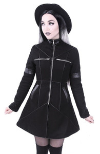 Geometry Coat with  Removable Hood