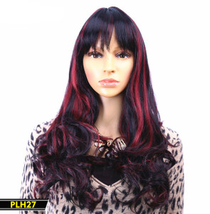 Black with Red Highlights Long Wig