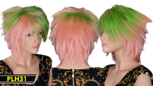 Pink and Green Short Wig