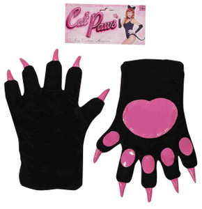 Adult Black with Pink Cat Paw Gloves