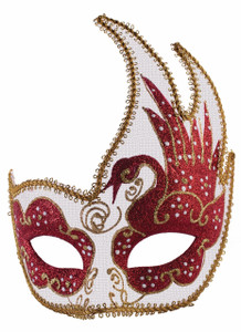 Masquerade Mask Red and White Pattern