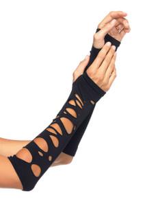 Black Distressed Arm Warmers