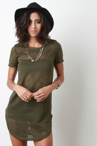 Green Fishnet Necklace Trim Oversized Top