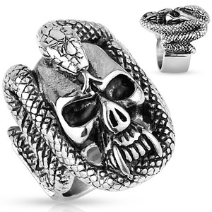 Snake Wraped Skull Ring