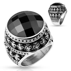 Skulls and Black Gem Ring