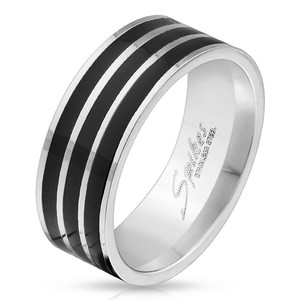 Silver and Black Lines Band Ring