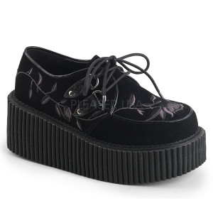 Vegan Platform Creepers Shoes with  Flower Embroidery