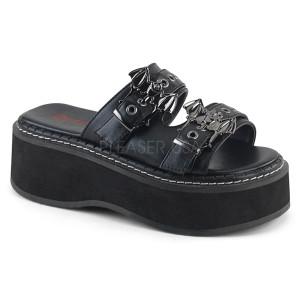 Black Vegan Platform Sandals with  Bat Buckles