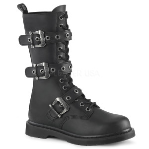Vegan Leather Boots with Buckle Harness by Demonia