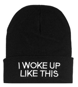 I Woke Up Like This Embroidered Knit Beanie