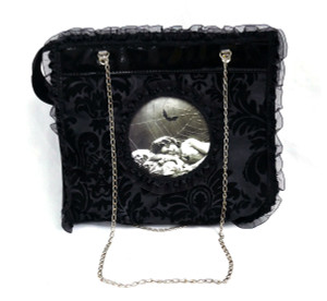 Sleeping Woman Black Tafeta Hand Bag
