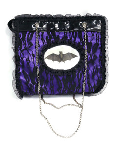 Dr. Frankenstein - Bat Purple and Black Tafeta Hand Bag