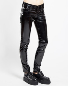 Women's Black Patent Vinyl Skinny Jeans