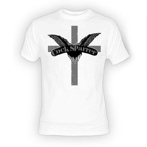 Cock Sparrer Cross Logo White T-Shirt