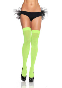 Lime Green Nylon Thigh High Stockings