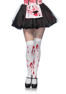 Blood Splattered Nylon Thigh High Stockings