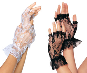 Fingerless Lace with Ruffles Gloves