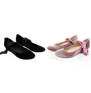 Lucia Black Velvet Shoes with Short Heels by Mitu