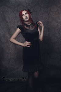 Black Vampire Doll Satin Velvet Dress