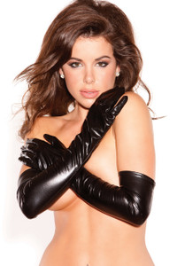 Black Vinyl Fetish Long Gloves