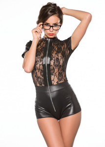 Lace Sides WetLook Vinyl Zip Up Jumper