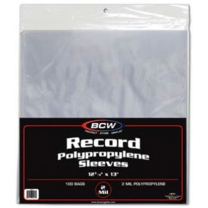 "12"" Plastic Record Outer sleeves package of 100 pieces"