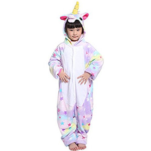 Kid Size Colorful Unicorn with Stars Kigurumi Onesie