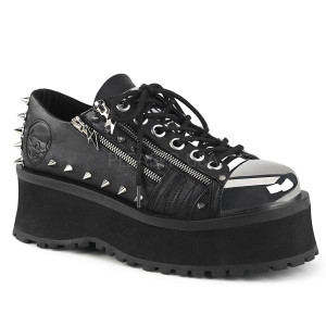 Platform Shoes with Spikes and Embossed Skull