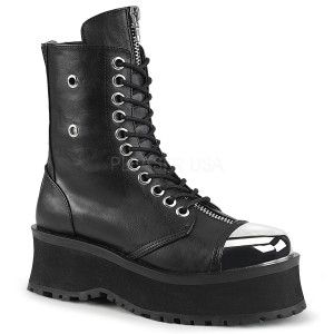 Lace-Up Ankle Boot with Metal Toe Cap