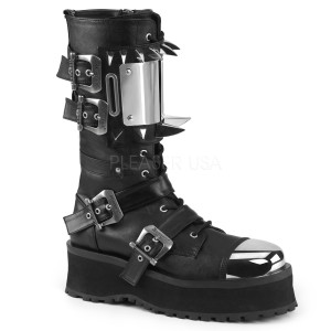 Lace-Up Mid-Calf Boot with Metal Toe Cap and Spikes