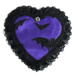 Lace Trim Purple Heart Coin Purse