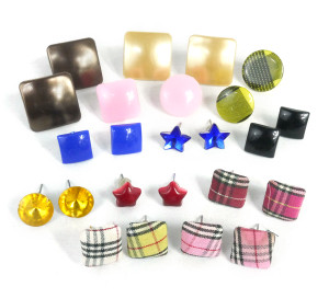 Necklaces and Accessories Lot - Button Shaped Earrings