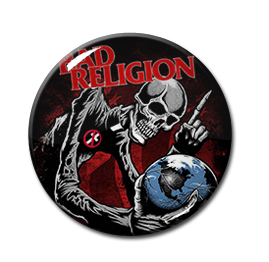 "Bad Religion - Skeleton and Globe 1"" Pin"