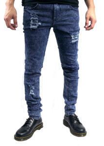 Blue Washed Ripped Denim Skinny Jeans